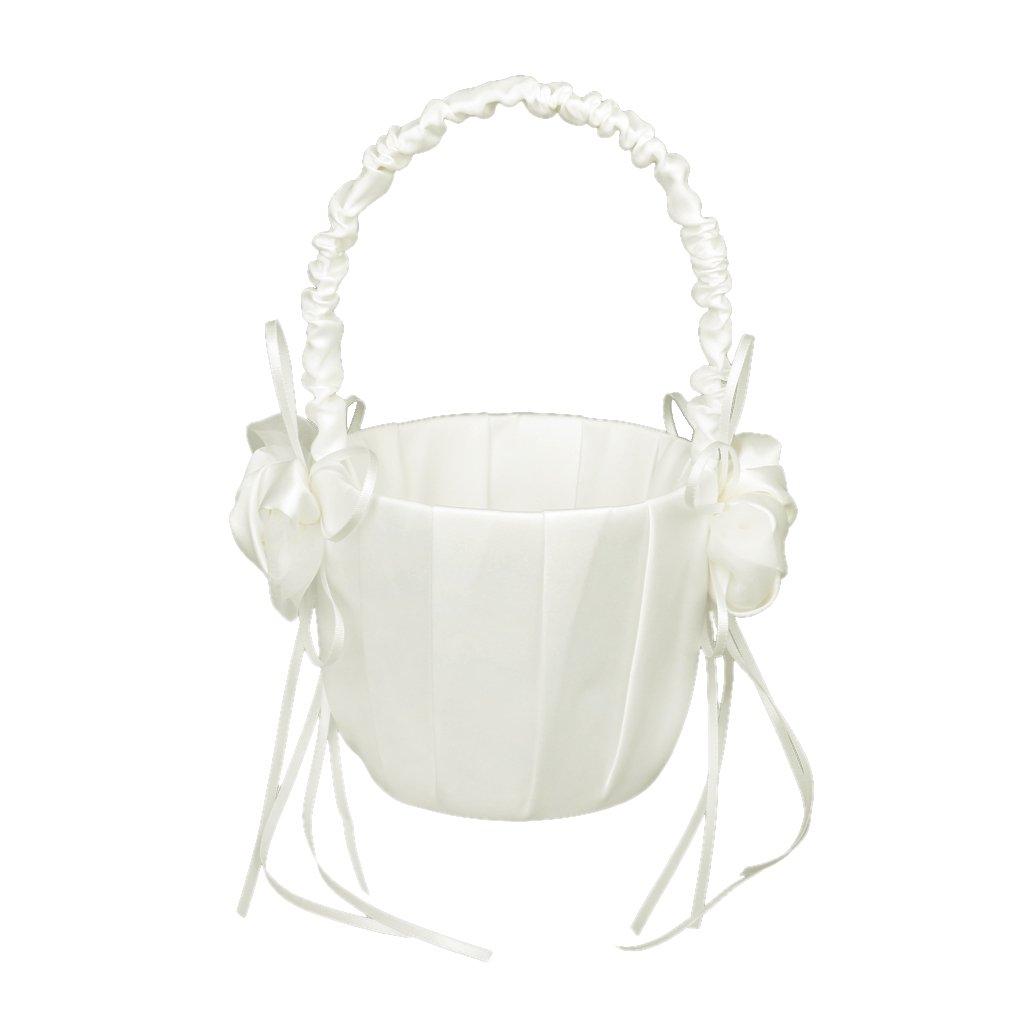 Bud Decorated Wedding Flower Girl Basket Ivory Generic 15012816
