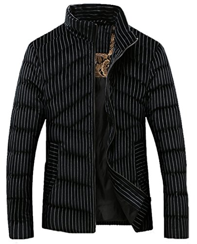 Stripe Casual Stand Down Zipper black Collar Men Coat Jacket EKU xxl Cloth qxCawUtS