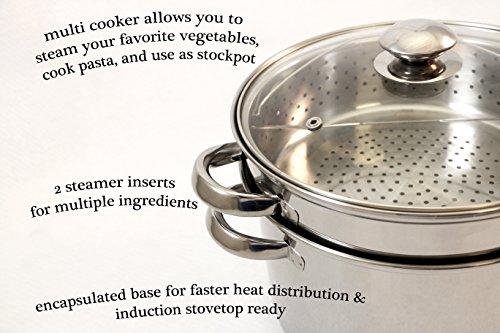ExcelSteel 20 Qt Multifunction Stainless Steel Pasta Cooker with Encapsulated Base, Vented Glass Lid, and Riveted Handles by ExcelSteel (Image #1)
