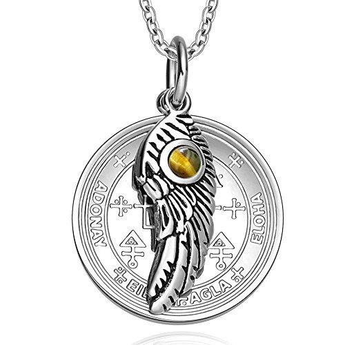 Archangel Uriel Sigil Amulet Magic Powers Angel Wing Charm Tiger Eye Pendant 18 Inch Necklace by BestAmulets