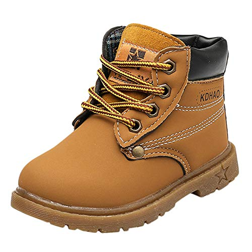 Toddler Baby Boys Girls Autumn Winter Martin Boots Shoes for 1-6 Years Old,Child Kids Solid Lace-Up Warm Sneakers (18-24 Months, Yellow) ()