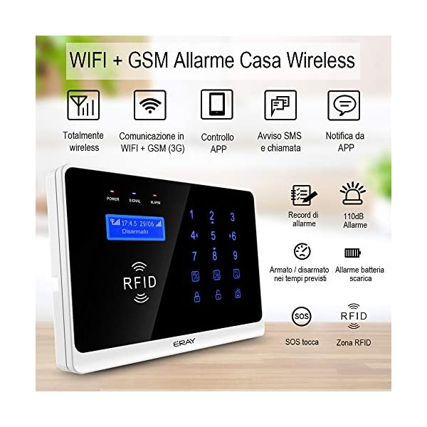 ERAY WM3FX WiFi + GSM / 3G Sistema di Allarme Domestico Wireless, Antifurto Kit con Pannello di Controllo, APP Gratuita… 2 spesavip