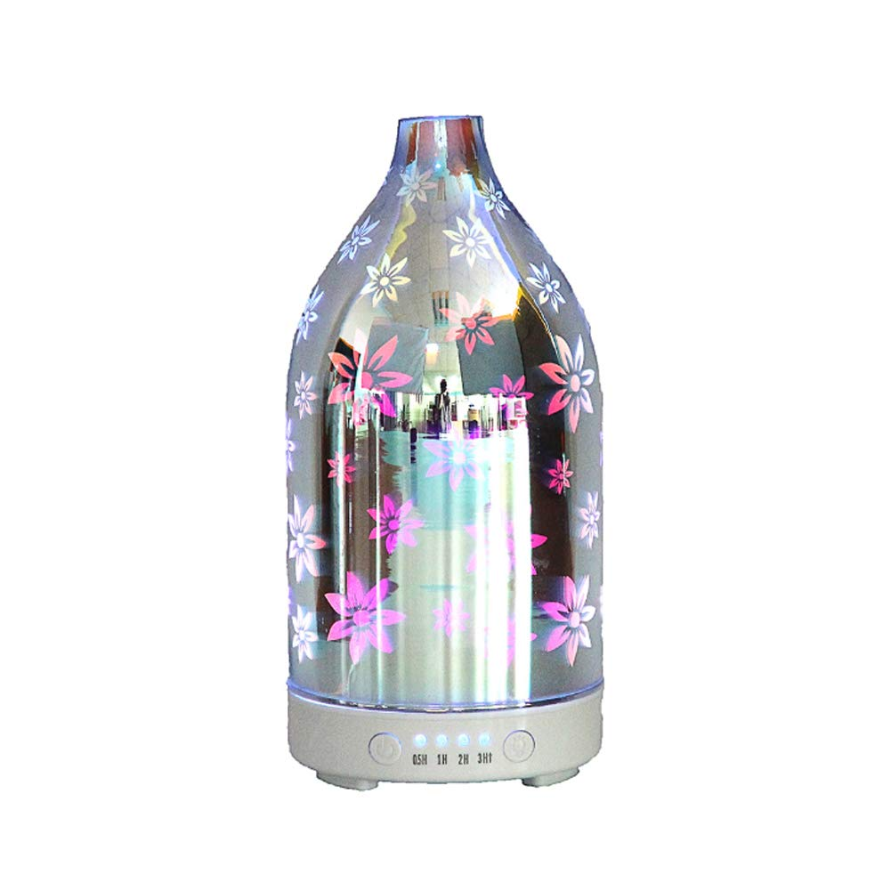 YYZLG Aromatherapy 3D Glass Humidifier, Colorful Night Light Negative Ion Fragrance Lamp Ultrasonic Essential Oil Diffuser