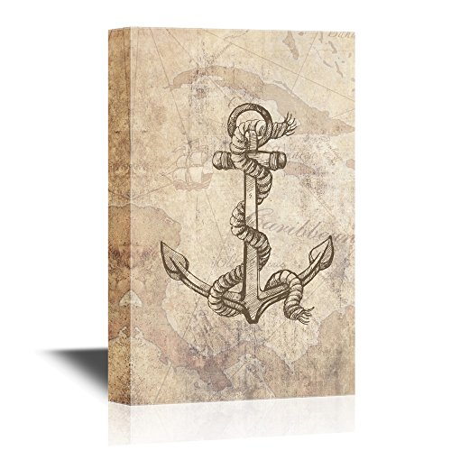 Anchor and Rope on Vintage Voyage Map Background