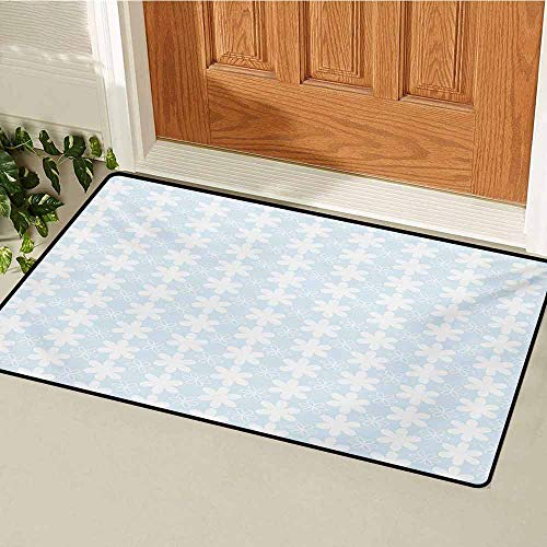 GUUVOR Floral Front Door mat Carpet Geometric Design Vertical Flowers Pattern on Baby Blue Background Artwork Machine Washable Door mat W29.5 x L39.4 Inch Baby Blue and White ()
