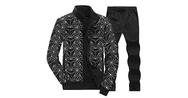 Ptyhk RG Men Casual Pattern Print Stretchy Jogging Sports Tracksuit Set Plus Size