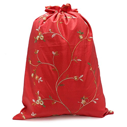 Buorsa Flower Design Embroidered Silk Jacquard Travel Bag Underwear Cloth Shoe Bags Pouch Purse , Set of 3--- 14'' x 11''(L x W) by Buorsa (Image #4)