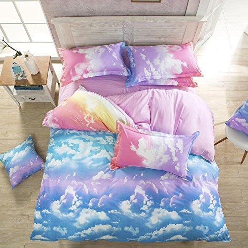 Vaulia Lightweight 100% Microfiber Duvet Cover Sets, Print Colorful Clouds Pattern Design - Full/Queen Size