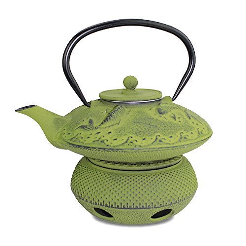 (Teapot Trivet Iron Cast Warmer + Japanese Antique 24 Fl Oz Green Fancy Carp Koi Fish Cast Iron Teapot Tetsubin with Infuser ~ We Pay Your Sales)