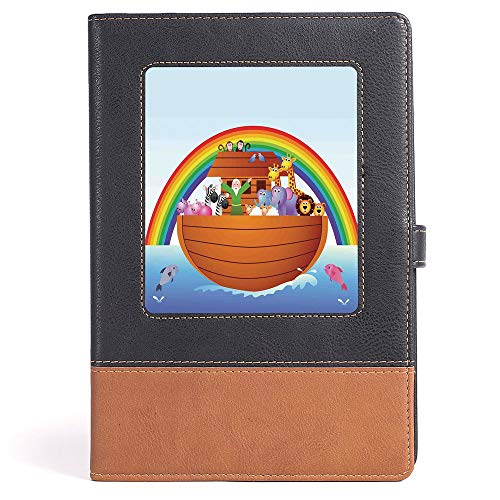 Casebound Hardcover Notebooks - Noahs Ark - Notepad Student Award Gift Decorative Notebooks - Noah Ark and Colorful Sky Every Kind of Creature Sailing Artful Design Print - 100 Ruled Sheets - A5/6.04x