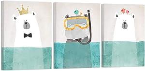 ArtBones Polar Bear and Hippo in Teal Water Canvas Art Photo Prints Cute Cartoon Animal Painting Stretched Framed Nursery Wall Decor Kids Bathroom Decor 12x16inchx3 Panels