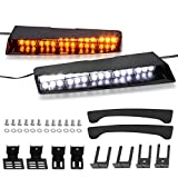 YITAMOTOR Visor Lights Emergency Amber White Visor lights bar 2-15 LED 26 Flash Patterns Windshield Interior Split LED Visor Light Bar