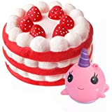 Jatidne Jumbo Squishy Cake and Whale Scented Squishies Slow Rising Kawaii Squishy Toys for Kids