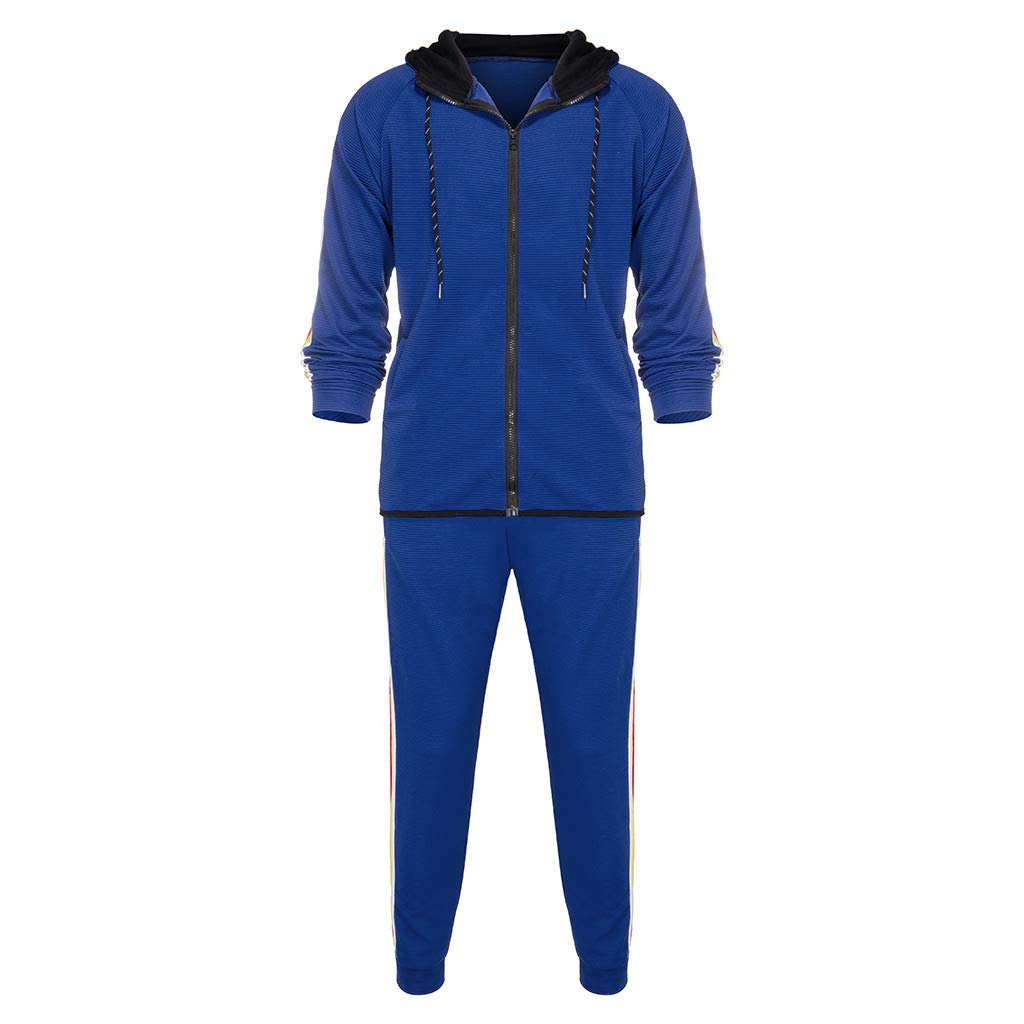 Mens Athletic Tracksuit Set Sportwear Sweat Suit Gym Contrast Jogging Full Tracksuit Hoodies Joggers Set