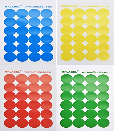 MFLABEL Pack of 2016 Round Color Coding Dot Labels, Multicolored, Red, Blue, Yellow, Green (Call For Service Labels compare prices)