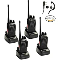 Galwad 4PCS 400-470 MHz Walkie Talkie Two Way Radio Rechargeable Battery Long Range Headset Headphone Built in LED Torch Galwad-888s
