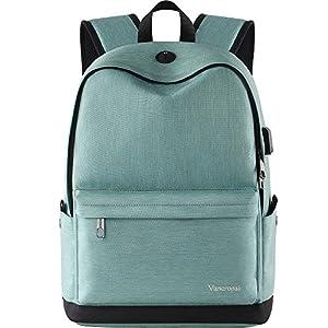 Student Bookbag, Durable School Laptop Backpack with USB Charging Port, Travel College Bag for Men/Women, Boys/Girls, Outside Water-resistant Rucksack Designed for 15.6 Inch Computer/Macbook - Cyan