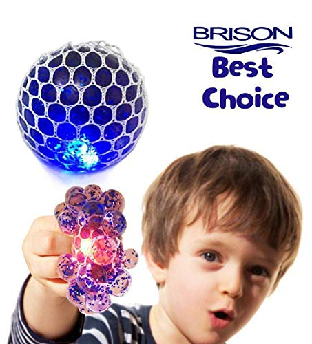 (MorganProducts Upgraded Led Anti-Stress Ball - Squishy Light up Ball-Anti Stress Toys-Toys for Kids-Mesh Stress Ball-Grape Ball-DNA Ball-Slime Stress Ball-ADHD Fidget Toys-Net Stress Squishy Ball)