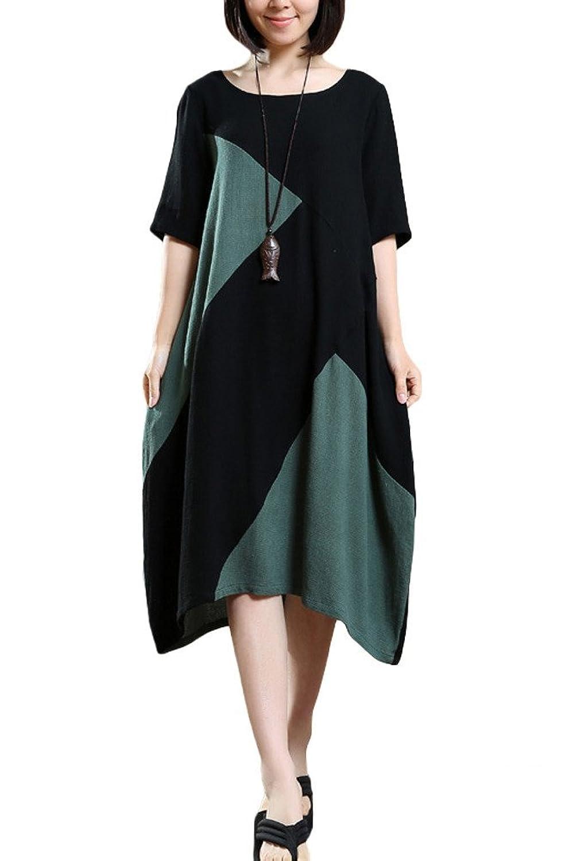 Vogstyle Damen Neuer Kontrast Farben Sommerkleid Baumwolle Leinen Sommerkleider