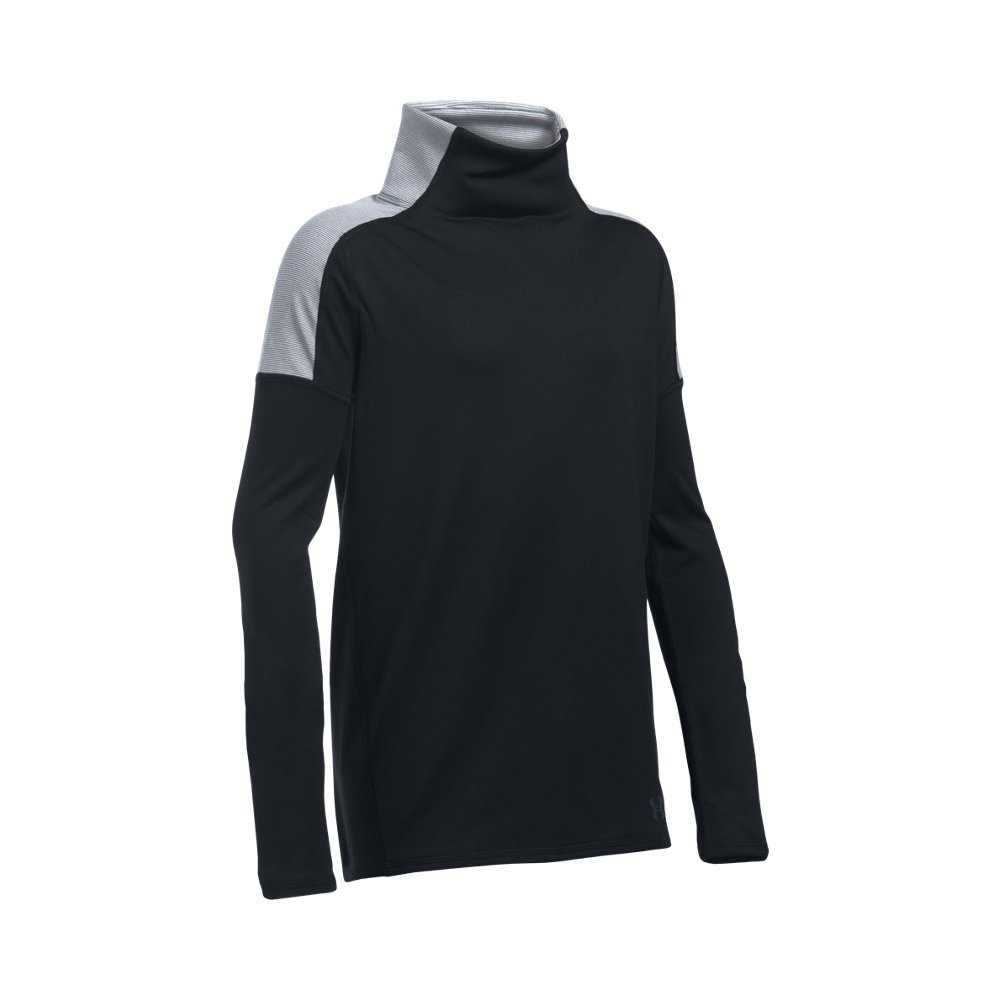 Under Armour Girls' Cozy ColdGear Long Sleeve, Black/Stealth Gray, Youth Small