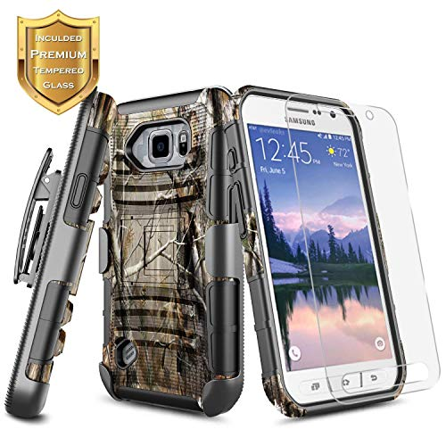 Galaxy S6 Active Case w/[Tempered Glass Screen Protector], NageBee Belt Clip Holster Defender Heavy Duty Armor Shockproof Kickstand Combo Rugged Durable Case for Samsung Galaxy S6 Active (G890) -Camo