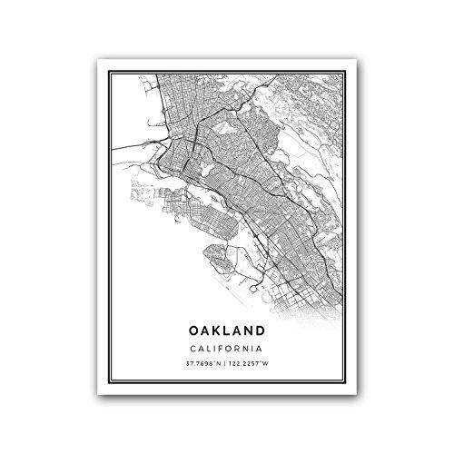 Oakland map poster print   Modern black and white wall art   Scandinavian home decor   California City prints artwork   Fine art posters 8.5x11