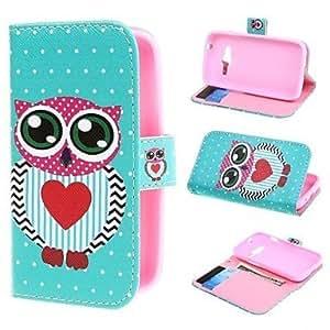 Los lunares y el amor caja de cuero de la PU cubren con el soporte y la ranura para tarjeta para Samsung Galaxy Ace 4 g313h