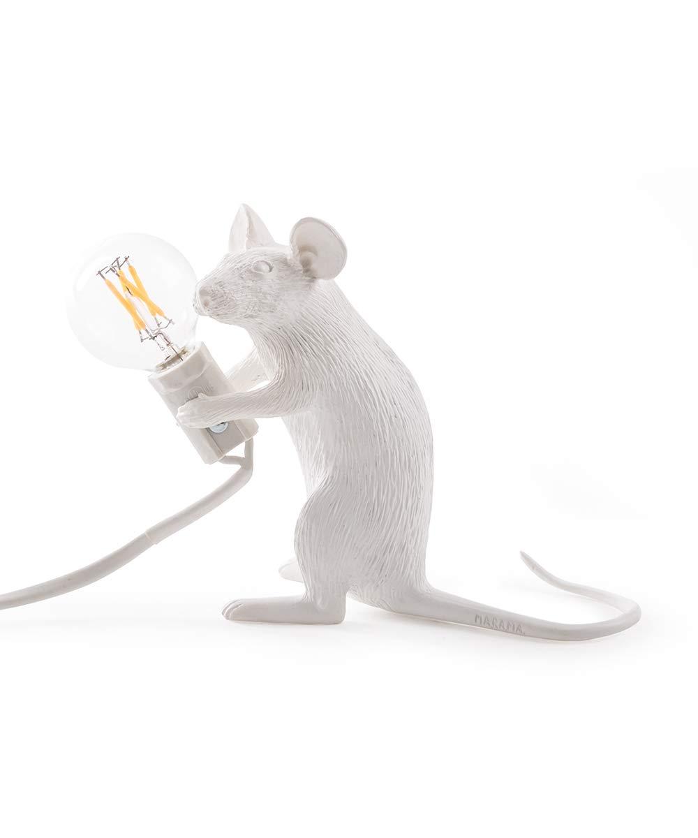 Seletti Mouse Lamp-Sitzend Weiß, Harz, 18 x 7 x 12,5 cm 14885