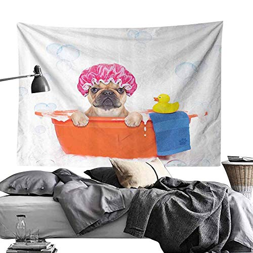 Decorative Tapestry Cute Dog with Rubber Duck Having a Bath Print Lover Funny Home Art Prints Kids Dogs Decor Fun Hippie Tapestry W24 x L20 Orange Pink Blue White - Glow Devil Duck