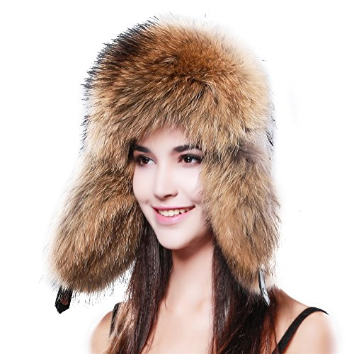 FURTALK Russian Womens Real Raccoon Fur Bomber Trapper Hat With Real Leather Top