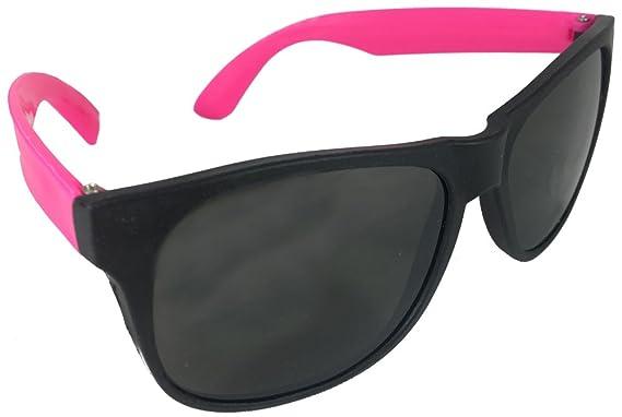 Amazon.com: Rosa neón & negro anteojos de sol Wayfarer 80 s ...