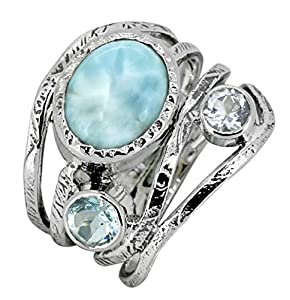 YoTreasure Natural Larimar Blue Topaz Gemstone Ring 925 Sterling Silver Designer Jewelry