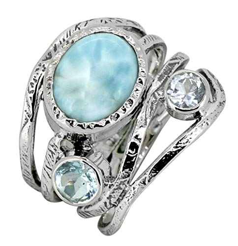 YoTreasure Natural Larimar Blue Topaz Gemstone Ring 925 Sterling Silver Designer Jewelry