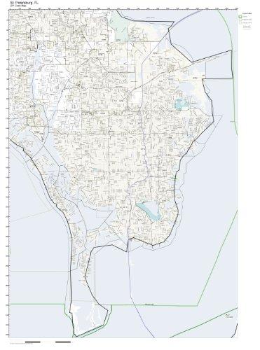 Saint Petersburg Zip Code Map.Amazon Com Zip Code Wall Map Of St Petersburg Fl Zip Code Map