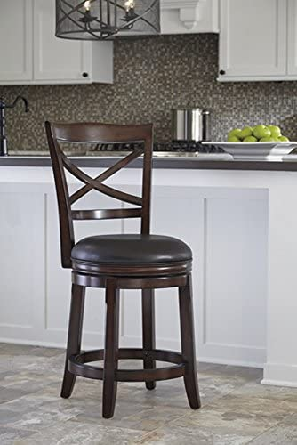 Signature Design By Ashley – Porter Upholstered Swivel Barstool – Set of 2 – Casual Style – Rustic Brown