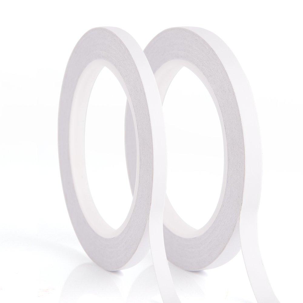 Kuuqa 2 rollos Cinta autoadhesiva de doble cara para Artesanía Clase Oficina DIY Uso 25 metros por rodillo (6mm y 9mm)