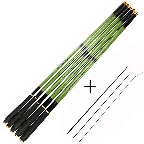 Goture 1 Piece Hard Carp Fishing Pole, Carbon Fiber Ultralight Telescopic Fishing Rod 10FT 12FT 15FT 18FT 21FT 24 FT+ Free Tip Set (Top 3 Segments)