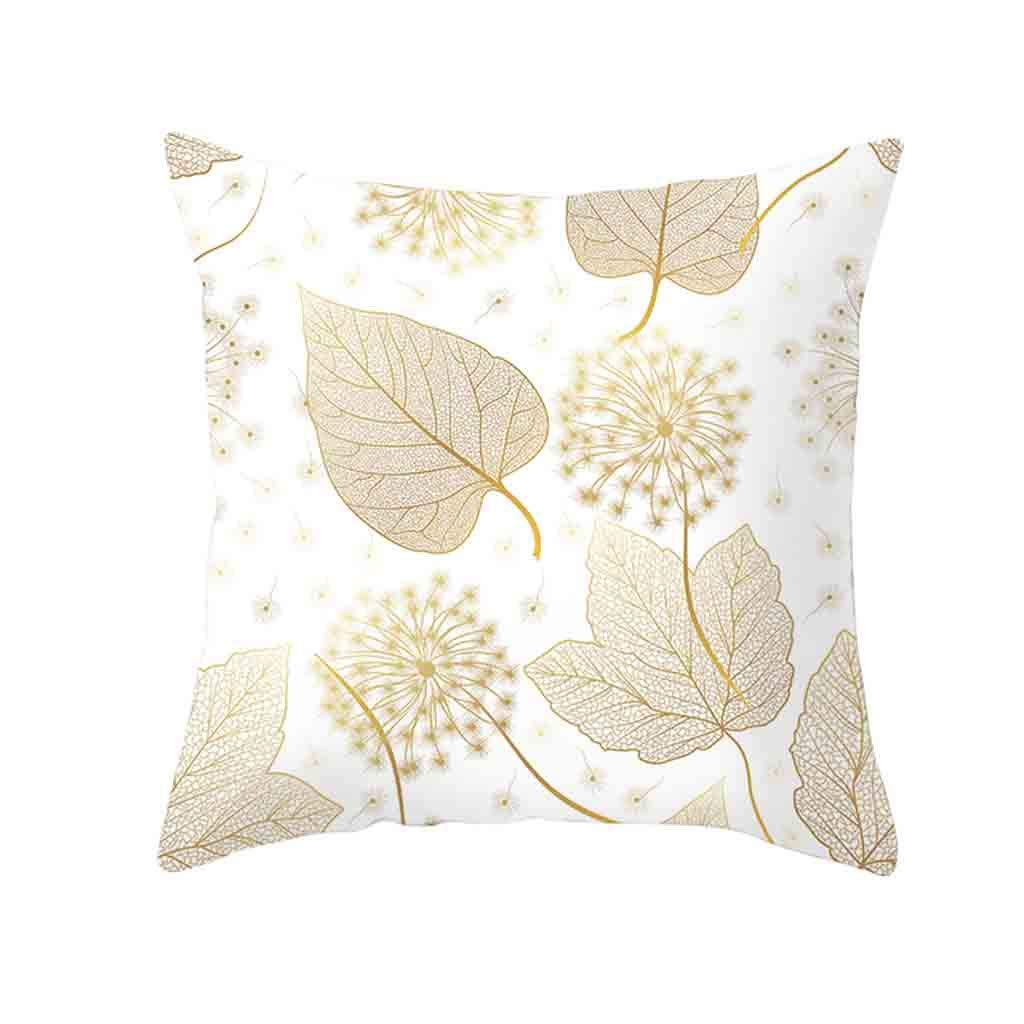 Pet1997 Golden Leaf Hug Pillowcase, Gold Plant Printed Polyester Pillow Case Cover, Sofa Cushion Cover, Home Decor, Luxury Bedding,18 X18 Inch (E)