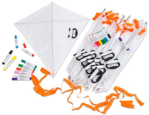 Betzold Drachen-Bastelset, 10 Blanko Einleiner-Kinderdrachen, jeweils inkl. 25 m Nylon-Schnur und Handspule, zusätzlich 20 Stoffmalstifte zum individuellen Gestalten