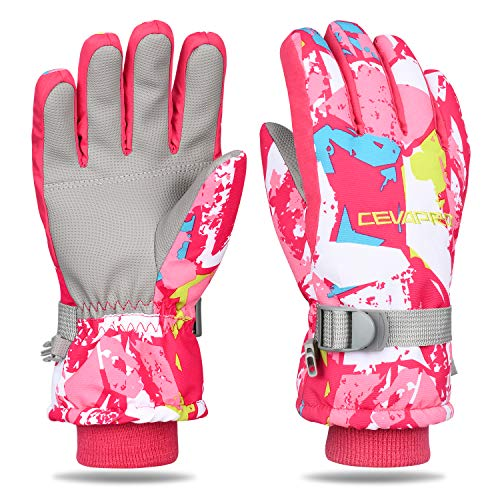 Yobenki Ski Gloves, Winter Waterproof Snow Gloves Non-Slip Breathable Cold Weather Gloves for Mens, Womens, Ladies and Kids Skiing,Snowboarding.