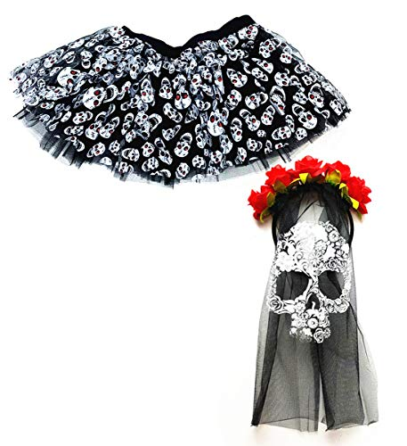 Mozlly Value Pack Womens Black Stretchy Pull On Skulls Tutu and Day of The Dead Skull Veil Mask Halloween Costume Scary Wedding Outfit Horror Dress Up Masquerade w/ Roses (2 Items)