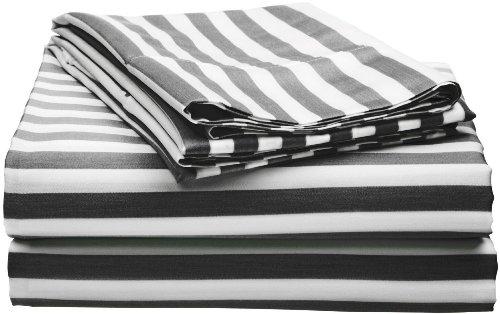 Cotton Blend 600 Thread Count, Deep Pocket, Soft, Wrinkle Resistant 4-Piece Full Bed Sheet Set, Cabana Stripe Black - 600 Tc Single Ply