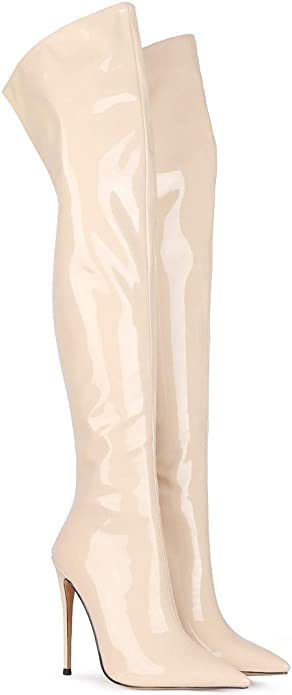 Details about  /Women Over the Knee Boots Pointy Toe Chunky Patent Leather High Heel Shoes 4-15