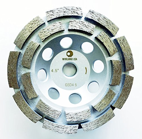 Whirlwind USA GSD 4.5 in. Diamond Grinding Cup Wheel Double Row Standard Higher Diamond Concentration with 5/8-Inch 11mm Thread (4.5''-S) by WHIRLWIND USA