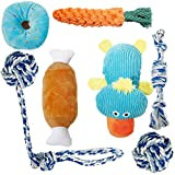 Toozey Puppy Toys. 7 Pack Durable Dog Toys for Small Dog. Teeth Cleaning Chewing Dog Rope Toys and Squeaky Plush Dog Chew Toys with Laundry Bag. Natural Cotton Dog Toy for Small Dogs & Puppy