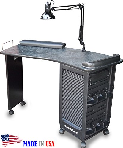390 Manicure Nail Table Lockable Cabinet w/Black Marble L...
