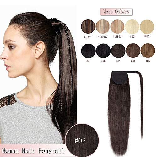 (100% Remy Human Hair Ponytail Extension Wrap Around One Piece Hairpiece With Clip in Comb Binding Pony Tail Extension For Girl Lady Women Long Straight #2 Dark Brown 16'' 80g)