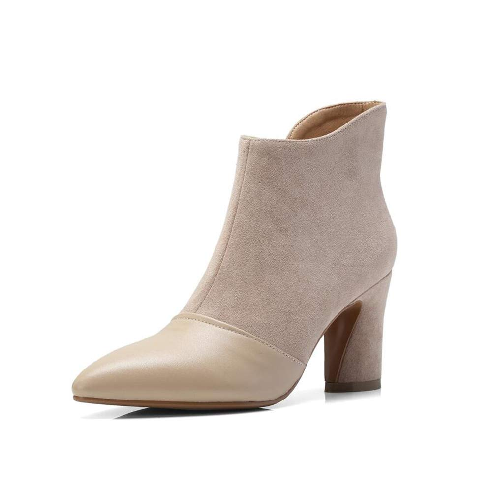 Stiefel Xiaolin Leder wies Toe High Heel Stiefelies Wildleder Damen Damen Damen Chelsea Stiefel Casual Ankle Stiefelies (Farbe   A größe   US8.5 EU39 UK6.5 CN40) a0c6e4