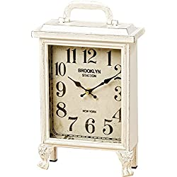 Brooklyn Station Clock, Chippy White, Shabby Distressed Finish, Analog Time Piece, Metal Case, Glass Cover, 1 Foot Tall (8 1/4 L x 3 1/2 W x 12 1/4 H Inches) 1 AA Battery (Not Included)