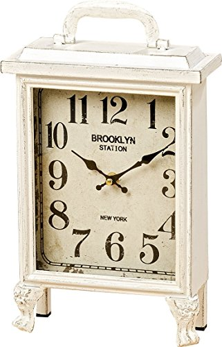 Lantern Mantle Clock - Brooklyn Station Clock, Chippy White, Shabby Distressed Finish, Analog Time Piece, Metal Case, Glass Cover, 1 Foot Tall (8 1/4 L x 3 1/2 W x 12 1/4 H Inches) 1 AA Battery (Not Included)